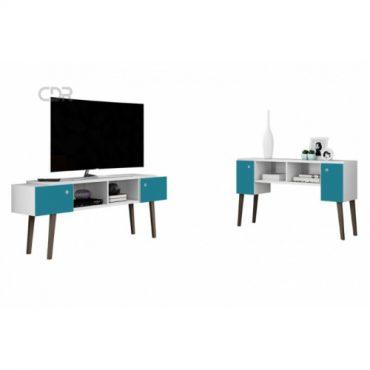 Rack / Aparador para TV con patas blanco con azul